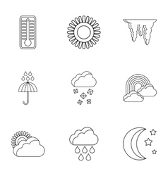 Weather outside icons set outline style vector