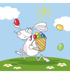 White bunny participating in an easter egg hunt vector