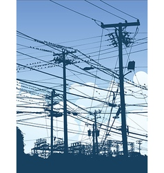 A complex maze of telephone poles vector