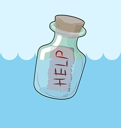 Bottle with message Help Transparent glass vessel vector image