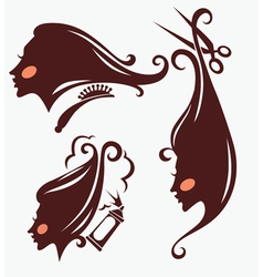 Head silhouettes and hairdresser equipment vector