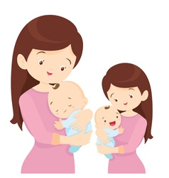 Young mother is holding her little baby vector image