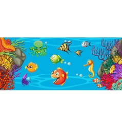 Scene with many fish underwater vector