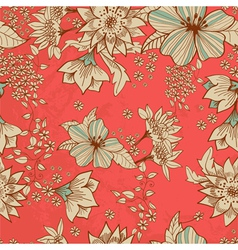 Seamless red floral background vector