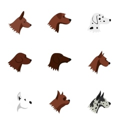 Faithful friend dog icons set flat style vector