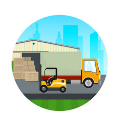 Icon warehouse with forklift truck vector