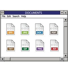 Nostalgic window including document icons vector