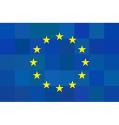European union flag on unusual blue squares vector