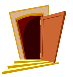 Cartoon curve door open vector