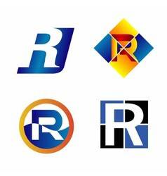 Alphabet symbols and elements of letter r such a vector