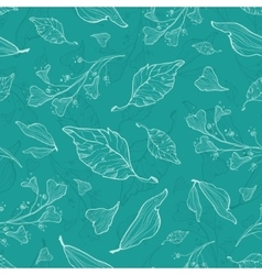 flying green leaves seamless pattern vector image