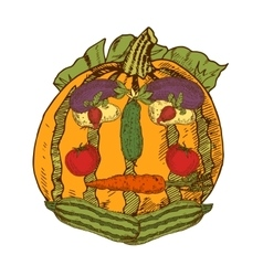 Still life with garden vegetables in human face vector