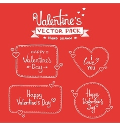 Set of happy valentines day hand lettering vector