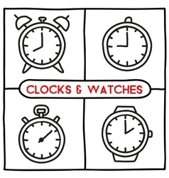 Doodle clock icons set vector