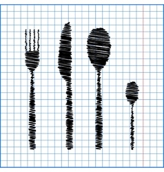 Fork spoon knife with pen effect on paper vector