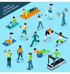 Fitness aerobic isometric people icon set vector