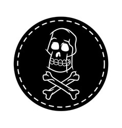 Skull and cross bone circle patch vector