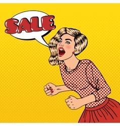 Woman shouting sale big sale poster pop art vector