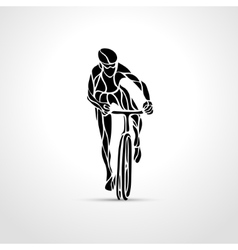 Abstract silhouette of bicyclist Black bike vector image