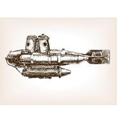 Antique submarine hand drawn sketch vector image vector image