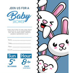 Baby shower card with rabbit vector