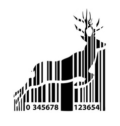 barcode deer background for christmas vector image vector image