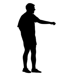 Black silhouettes man on white background vector image