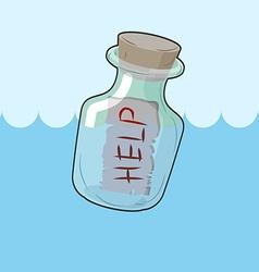 Bottle with message help transparent glass vessel vector