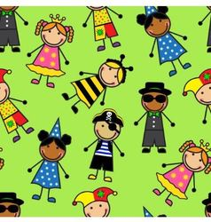 Cartoon seamless pattern with children in differen vector