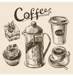 coffee sketch vector image