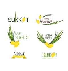 Collection of labels for sukkot jewish vector