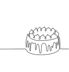 Continuous line drawing of big cake vector