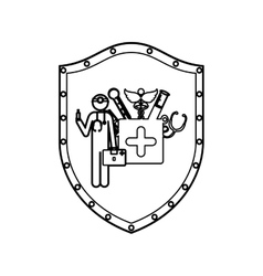 contour shield with doctor with medical tools vector image
