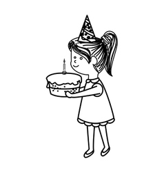cute little girl character with cake vector image vector image