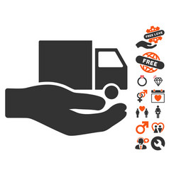 delivery service hand icon with love bonus vector image vector image