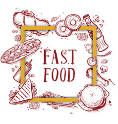 fast food vintage hand drawn menu cover vector image