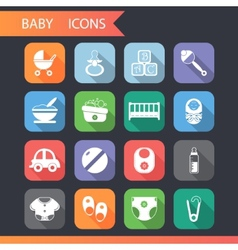 Flat baby and childhood icons symbols set vector