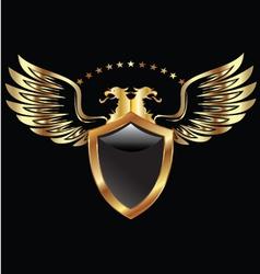 Gold Eagle shield vector image vector image