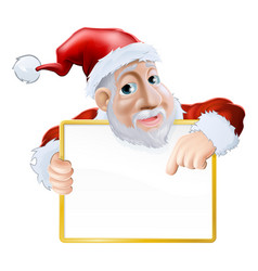 Happy cartoon santa holding sign vector