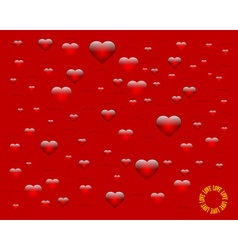 Hearts on a red background vector