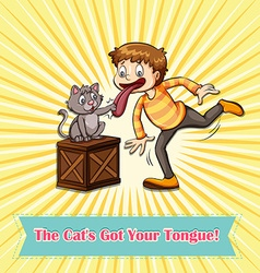Idiom cats got your tongue vector image vector image