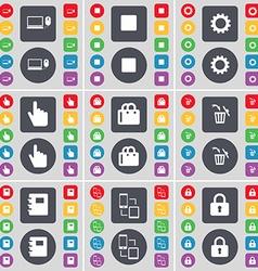 Laptop Media skip Gear Hand Shopping cart Trash vector image vector image