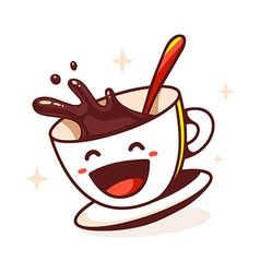 laughing cup of coffee with spoon on whit vector image