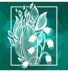 Lilies of the valley flower with simple frame vector