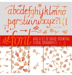 orange color calligraphic font vector image