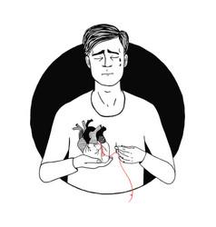 sad and suffering man loss of love guy broken vector image