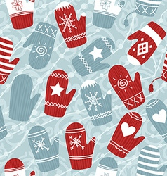 Seamless Christmas pattern with mittens vector image