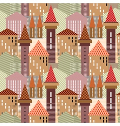 seamless town pattern vector image vector image