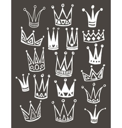 Set of cute cartoon crowns Hand drawing vector image