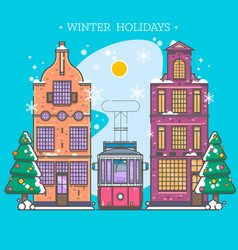 snowy street urban winter landscape christmas vector image vector image